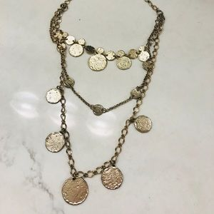 Three layer Chico's gold necklace